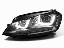 HVWG7HL-B Helix R-Look Headlights with Double U LED - Black Strip   Mk7 Golf   GTi