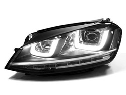 HVWG7HL-C2 Helix Projector Headlights with Double U LED - Chrome Strip | Mk7 Golf | GTi