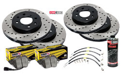Stoptech_B6_Passat_FWD Stoptech Cross Drilled Rotor Kit with Hawk Pads | B6 Passat 2.0T | VR6 FWD