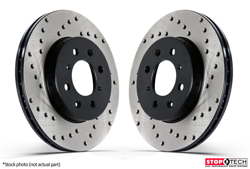 High-End 2 Black Coated Cross-Drilled Disc Brake Rotors Fits:- A4 A4 Quattro S4 90 Quattro Rear Rotors