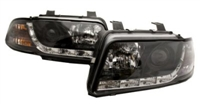 HAUA4B5HL-S5B S5 Style LED Ecode Black Projector Headlights | B5