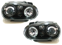 HVWG4HL-AEB-90 Depo Mk4 Golf Angel H|Lamp w/Fog Lamp | Black