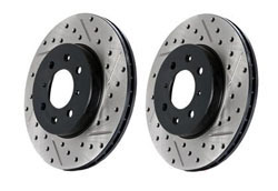 127.33022L-R Rear Stoptech Cross Drilled & Slotted Rotors - Set of 2 Rotors (256x20mm) Mk3 Golf | Jetta 4Cyl.