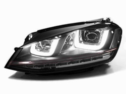 HVWG7HL-B Helix R-Look Headlights with Double U LED - Black Strip | Mk7 Golf | GTi