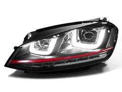 HVWG7HL-R Helix Projector Headlights with Double U LED - Red Strip | Mk7 Golf | GTi