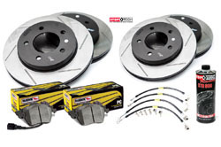 Stoptech_S_B8-A4-A5 Stoptech Slotted Rotor Kit 320mm with Hawk Pads | B8 Audi A4 | A5