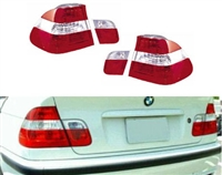 HXBME46TL-4DL-CR BMW E46 4DR SEDAN 2002-2004 Red | Clear | Red