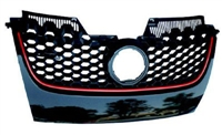 1K0853653BVW8 Mk5 GTi Grille - Black w/Red Trim OEM VW
